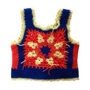 70s Vtg Crochet Hippie Crop Top